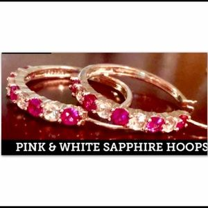 PINK AND WHITE SAPPHIRES WHITE GOLD HOOP EARRINGS